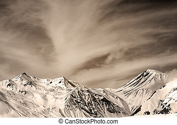 Sepia mountains in windy day Caucasus Mountains, Georgia Ski...