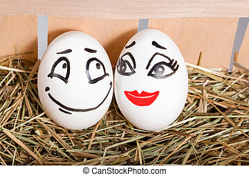 Couple of lovers eggs in the hayloft - Two eggs in a tray...
