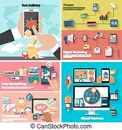 Delivery, money, bank and digital marketing - Delivery...