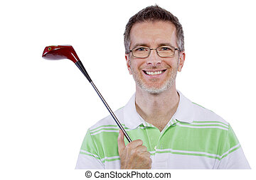 Middle-Aged Golfer - middle-aged man staying healthy and...