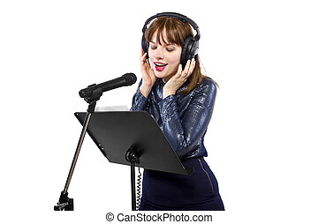 Female Singer on a White Background - woman singing or...
