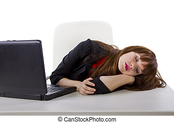 Sleepy Secretary - sleepy young businesswoman at work being...