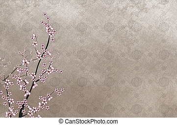 Decorative cherry tree and chinese pattern filigree with place for text or image