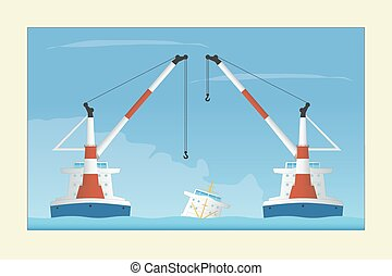 Two floating cranes and sunken vessel - Two floating cranes...