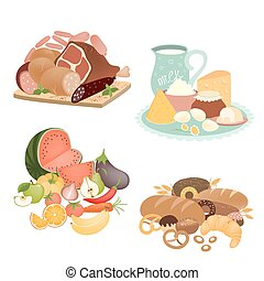 Collection of vector food items - Collection of food items...