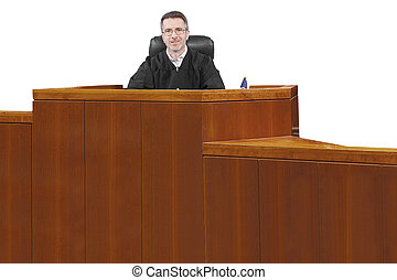 Judge - middle aged caucasian american judge in a robe...