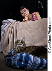 Noisy Housecat - girl unable to sleep because of noisy pet...