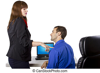 Flirting Co-Worker - female coworker is flirting to get...
