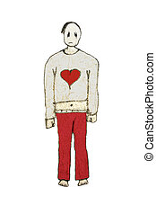 Emo Boy Isolated Raster Illustration