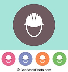 Hard hat icon - Vector hard hat icon on round colorful...