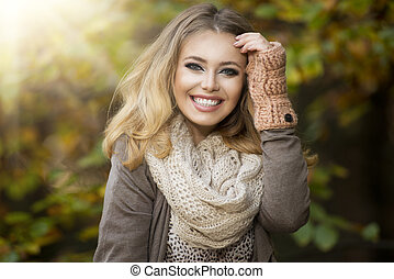 Beautiful elegant woman in park - autumn - Beautiful elegant...