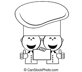 Funny cooks with menu, vector - Funny cooks with menu