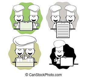 Funny cooks with menu, vector - Funny cooks with menu,set