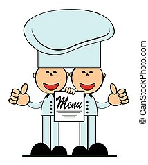 Funny cooks with menu, vector