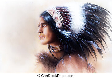 beautiful illustration, painting of a young indian warrior...