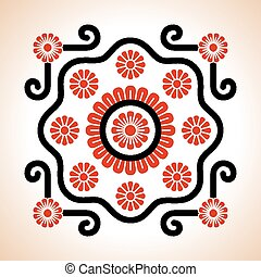 Hungarian embroidery motives decoration - Hungarian red and...