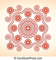 Hungarian embroidery motives decoration - Hungarian red...