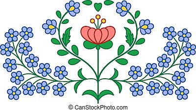 Hungarian embroidery floral decoration - Traditional...