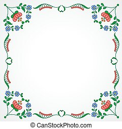 Hungarian embroidery frame with floral decoration -...