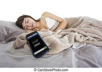 Snoozing Alarm Clock - female snoozing modern cell phone...