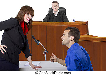 Courtroom Trial - defendant with lawyer speaking to a judge...
