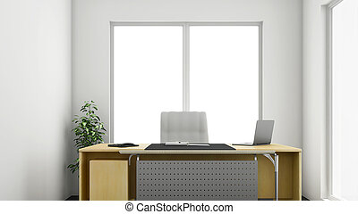 3d Office - 3d render of small or medium sized corner office