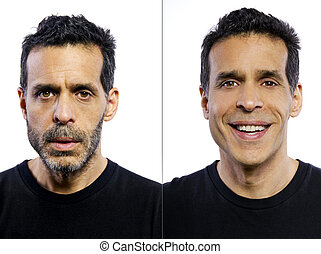 Before and After Shaving - portrait of a man before and...