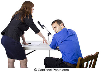 Defense Lawyer - lawyer defending client with white space...