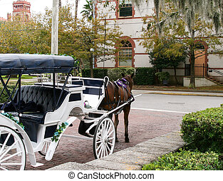 Horse drawn carriage in historic St Augustine Florida
