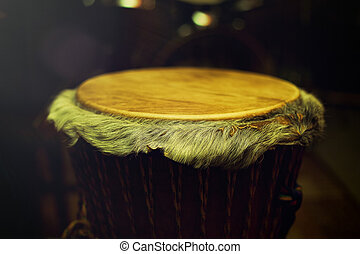 Original african djembe drum with leather lamina with...