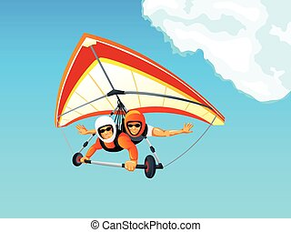 Hang gliding - Cheerful hang gliding tandem flying in sky