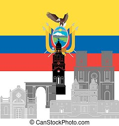 Ecuador - The national flag of the country and the contour...