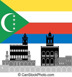Comoros - The national flag of the country and the contour...