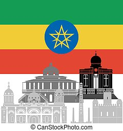 Ethiopia - The national flag of the country and the contour...