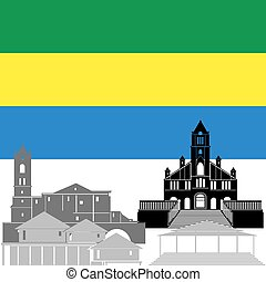 Gabon - The national flag of the country and the contour...