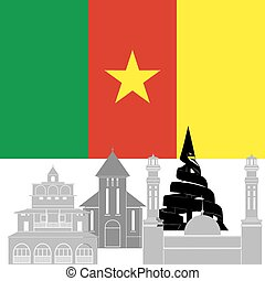 Cameroon - The national flag of the country and the contour...