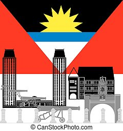 Antigua and Barbuda - The national flag of the country and...