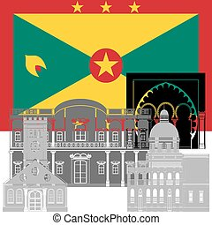 Grenada - The national flag of the country and the contour...