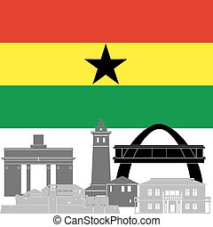 Ghana - The national flag of the country and the contour...