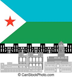 Djibouti - The national flag of the country and the contour...