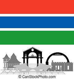 Gambia - The national flag of the country and the contour...