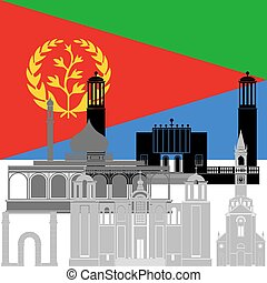 Eritrea - The national flag of the country and the contour...