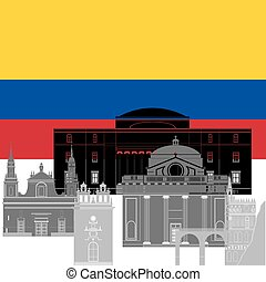 Columbia - The national flag of the country and the contour...