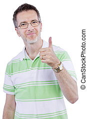 Adult Man Thumbs Up - adult man in grene shirt with thumbs...