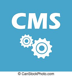 Cms white icon - Cms web white icon isolated on a blue...