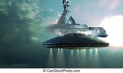 Futuristic sequence with UFOs - Futuristic sequence with UFO...