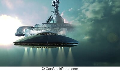 UFO approaching mothership - UFO approaching a gigantic...