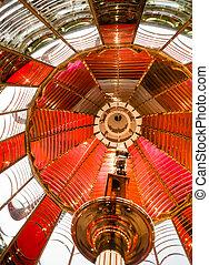 Small Lamp Inside Fresnel Lens Historical Lighthouse...