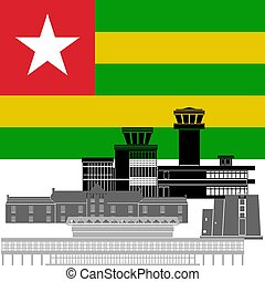 Togo - State flag and architecture of the country...