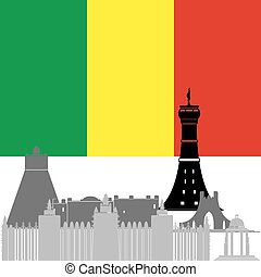 Mali - The national flag of the country and the contour...